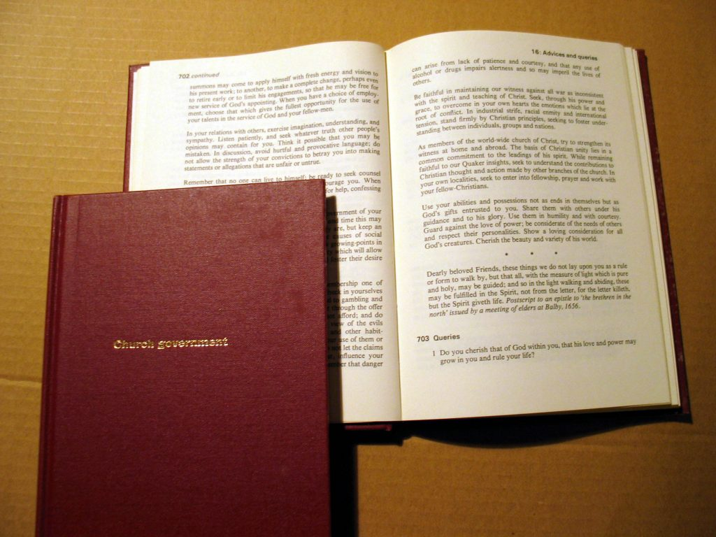 Quaker Faith and Practice, showing a section of 'Advices and Queries'.