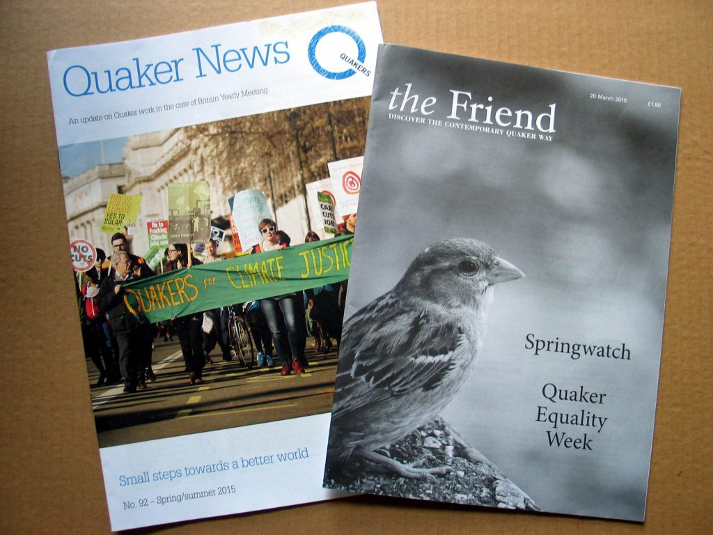 Copies of example editions of Quaker News and The Friend.